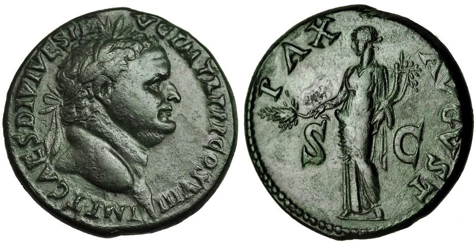 Sesterzio di Tito (77-80) con ritratto imperiale e al rovescio personificazione della pace
