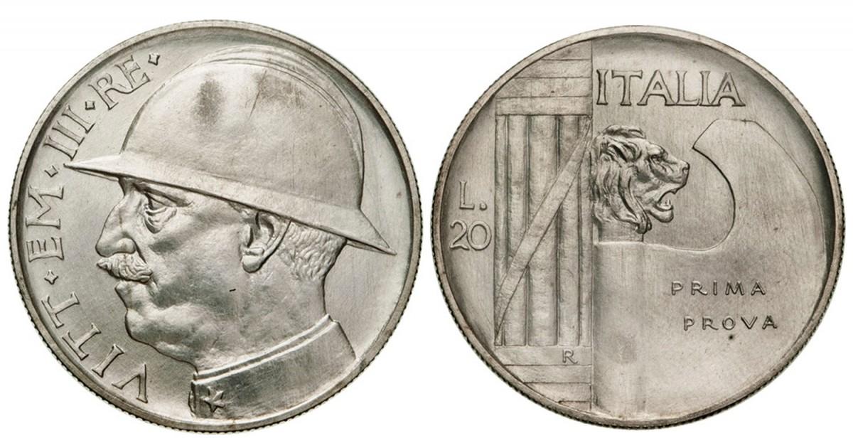 La prima prova delle 20 lire Elmetto senza motto sulla scure del fascio littorio al rovescio