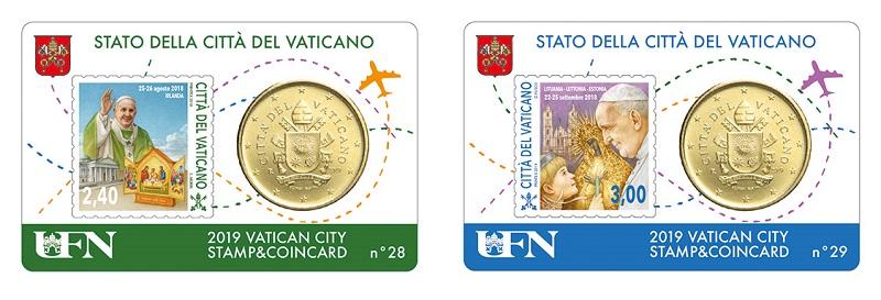 Gli altri due valori della serie filatelica abbinati con la moneta da 50 euro cent del 2019