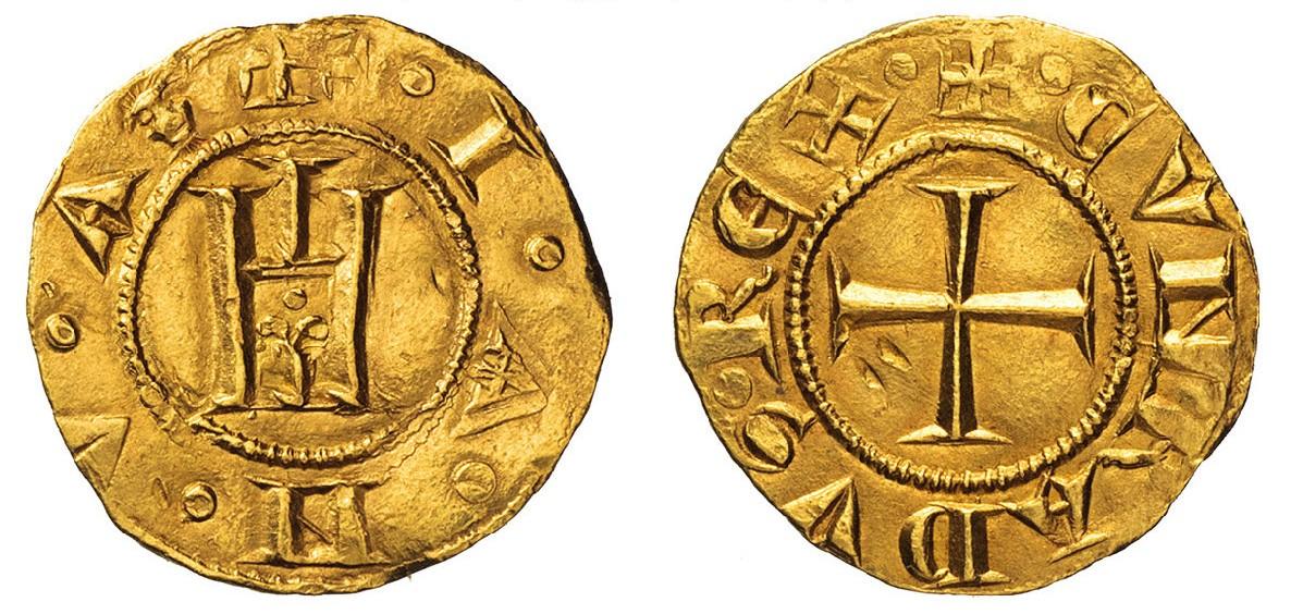 """Genovino in oro di primo tipo da g 3,52 con simbolo """"maschera"""" all'interno della porta simbolo della città"""