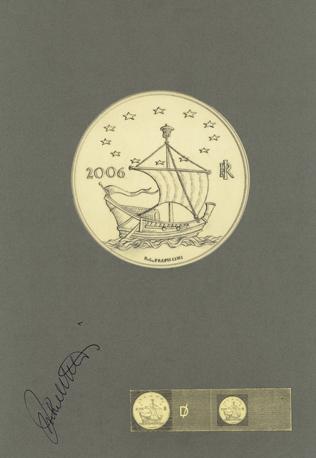 Bozzetto del dritto comune alle monete in oro Europa delle arti