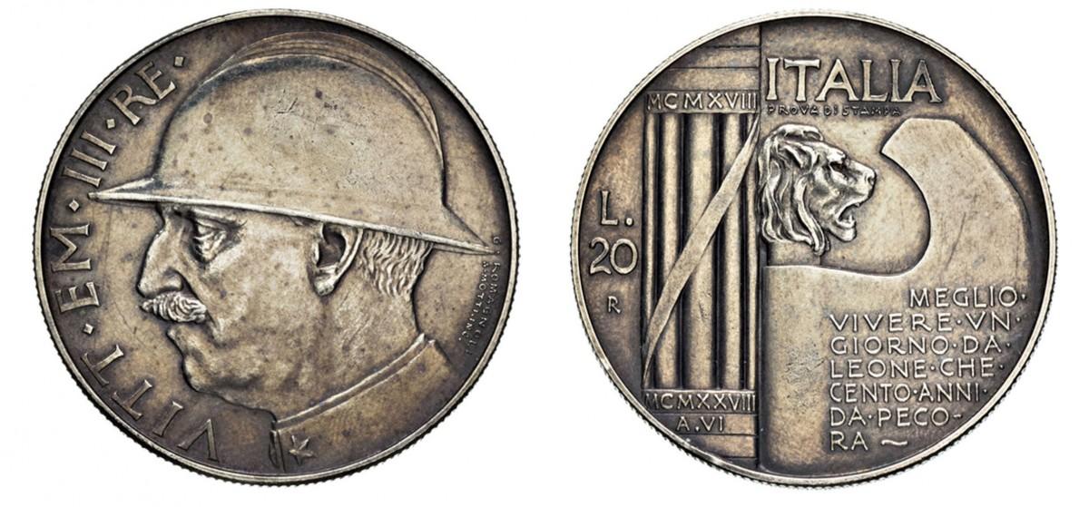 """Le 20 lire 1928 """"prova di stampa"""", un'altra grande rarità numismatica del '900 italiano"""