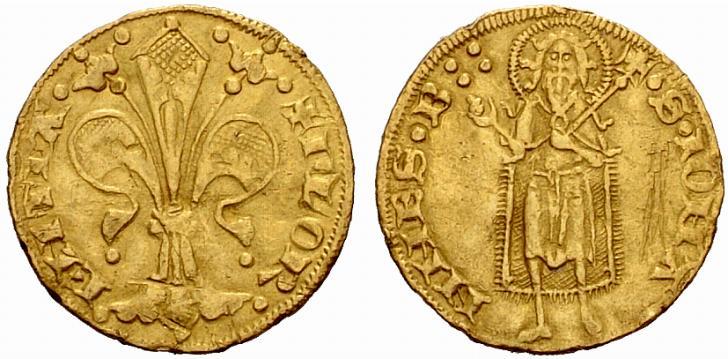 """Fiorino in oro coniato a Firenze da g 3,53 nel periodo """"senza simboli"""", ossia risalente al 1252-1305"""