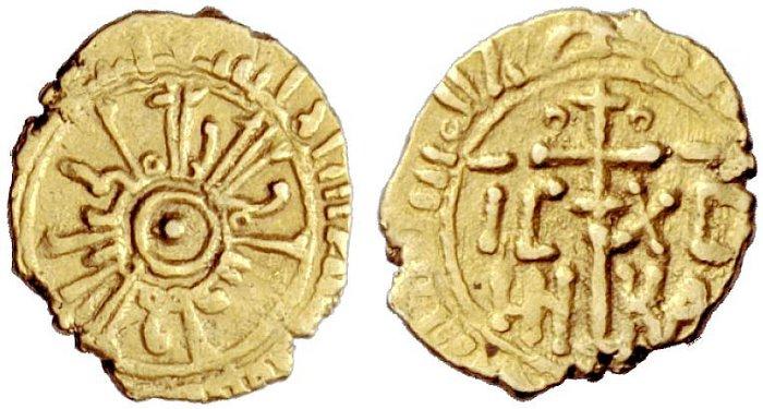 Tarì siciliano in oro da g 0,87 a nome di Guglielmo I coniato nel 1144-1166