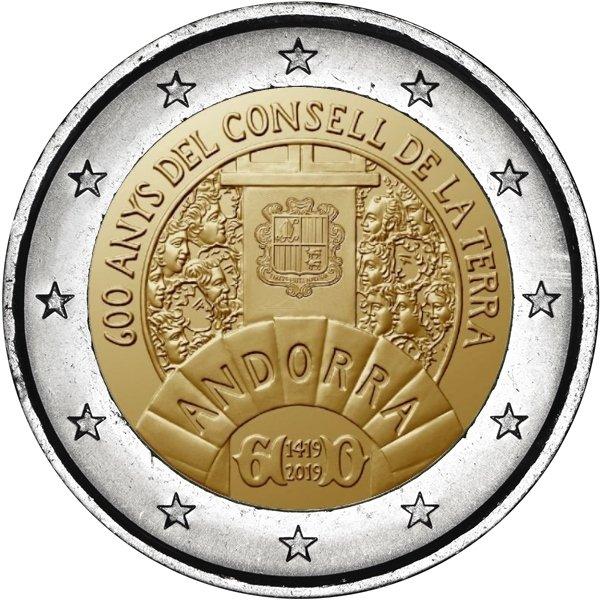Lo stemma nazionale, i volti dei deputati e l'antico simbolo del Parlamento sui 2 euro di prossima emissione da parte di Andorra