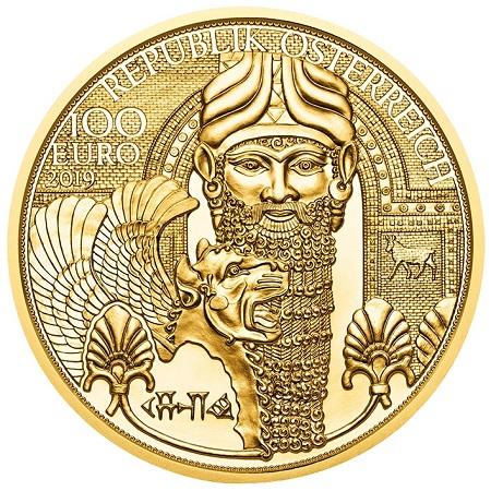 """Nabucodonosor e la parola """"oro"""" in cuneiforme sul dritto della nuovissima 100 euro d'Austria, per collezionisti e investitori"""