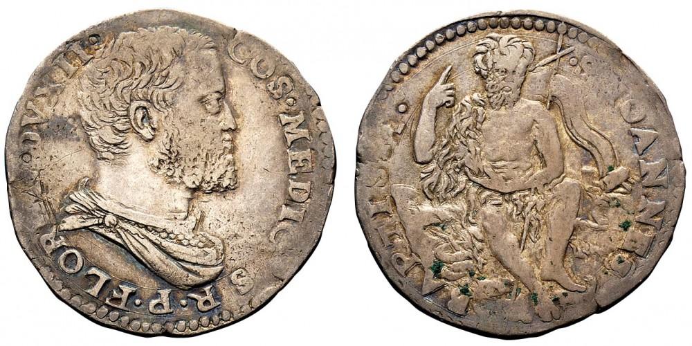 Un bel testone in argento di Cosimo I de' Medici con il Battista sulle nubi al rovescio