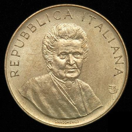 Maria Montessori al dritto delle 200 lire commemorative FAO del 1980
