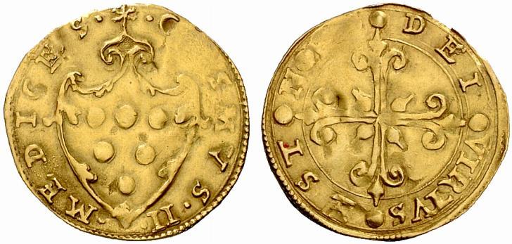 """Scudo d'oro di Cosimo I de' Medici """"capo e primario del groverno"""" di Firenze, I periodo (1536-1537), D/ Stemma mediceo R/ Croce gigliata"""