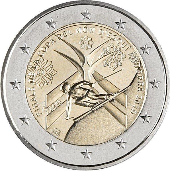 I 2 euro andorrani emessi in marzo per le Finali FIS di sci alpino svoltesi nel Principato