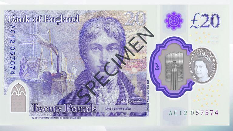 Turner e una delle sue più celebri opere sul retro dei futuri 20 pound del Regno Unito