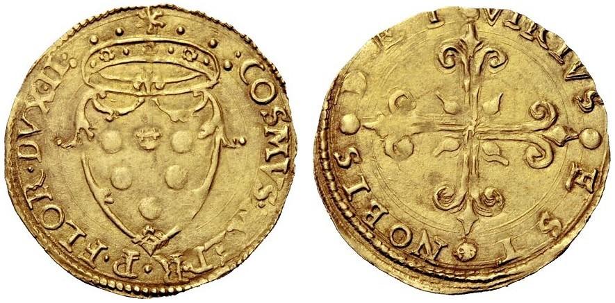 Scudo d'oro di Cosimo I de' Medici duca di Firenze, II periodo (1537-1557), D/ Stemma mediceo e corona ducale R/ Croce gigliata
