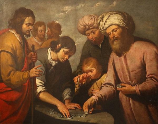 """Dipinto di Giovanni Carlone (1584-1631) """"Giuseppe venduto dai fratelli"""" a Palazzo Tursi di Genova. Al centro della scena lo scambio dei """"pezzi d'argento"""""""