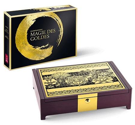 """In tono con tanta preziosità, ecco il cofanetto destinato a ospitare le sei monete d'Austria della serie """"La magia dell'oro"""""""