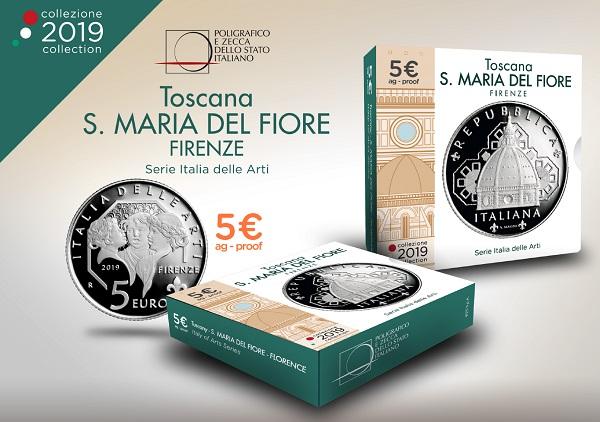 La confezione in cui IPZS propone la moneta emessa il 18 ottobre per Firenze e Santa Maria del Fiore