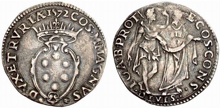 Giulio d'argento di Cosimo I de' Medici granduca di Toscana, IV periodo (1569-1574), D/ Stemma mediceo R/ I santi Giovanni Battista e Cosma in piedi