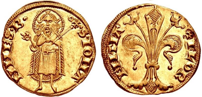 Fiorino d'oro del libero Comune di Firenze, 1252-1533, D/ san Giovanni Battista in piedi R/ Giglio fiorentino