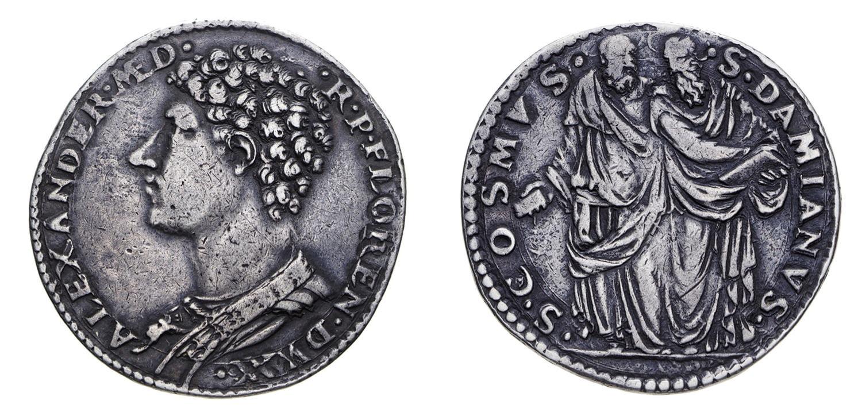 """Testone d'argento, detto """"riccio"""", di Alessandro I de' Medici, 1533-1536, D/ Busto di Alessandro I R/ i santi Cosma e Damiano in piedi"""