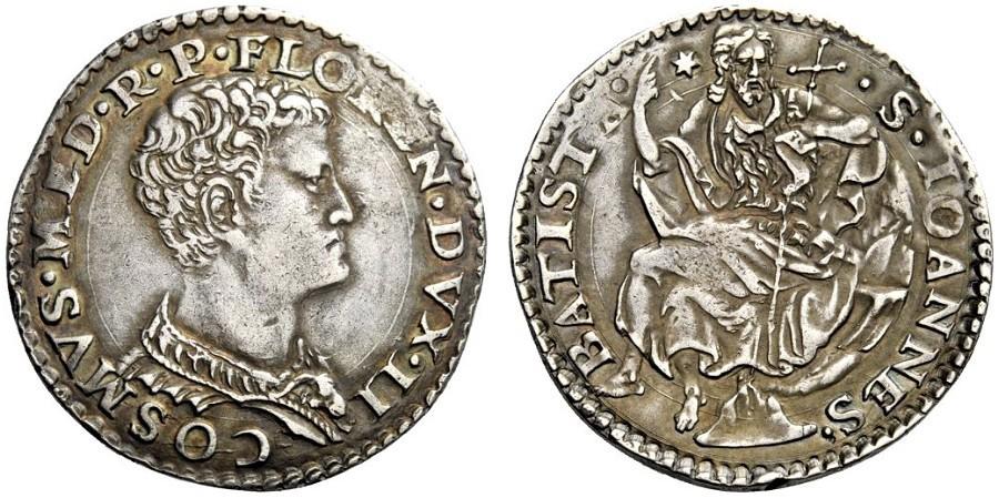 Primo testone d'argento di Cosimo I con ritratto giovanile,  1537-1557, D/ Busto imberbe di Cosimo I R/ san Giovanni Battista seduto