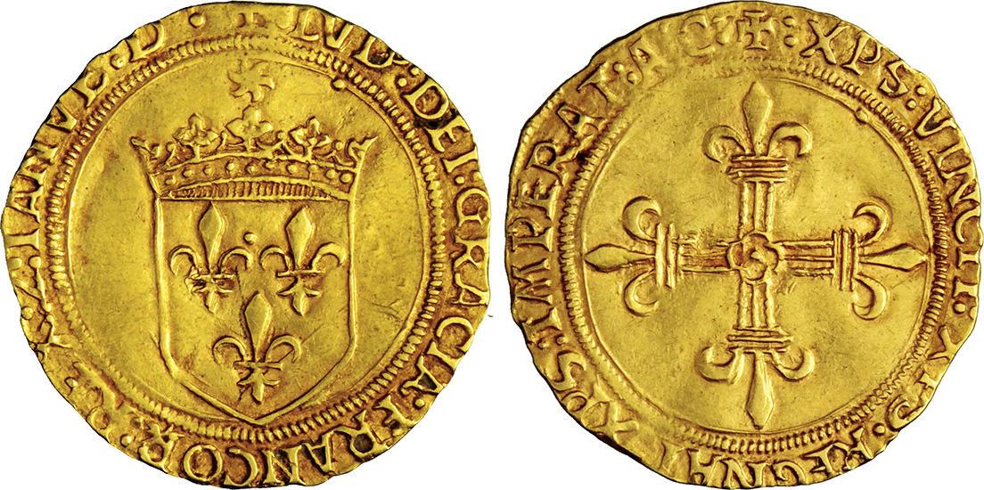 Scudo d'oro del sole, re di Francia Luigi XII,  1498-1515, D/ Stemma reale di Francia R/ Croce gigliata