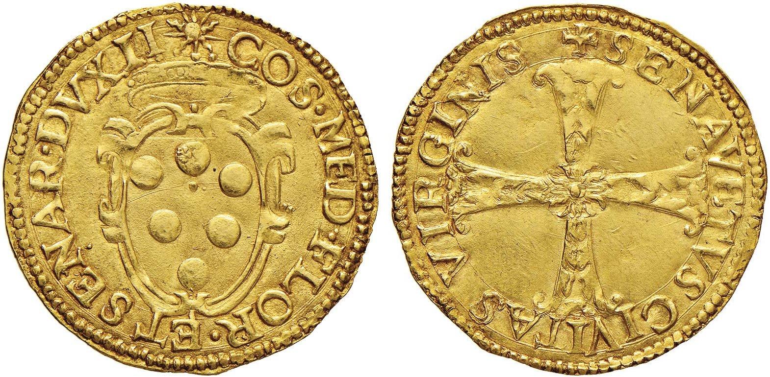Scudo d'oro di Cosimo I de' Medici, III periodo (1557-1569), D/ Stemma mediceo R/ Croce fiorata