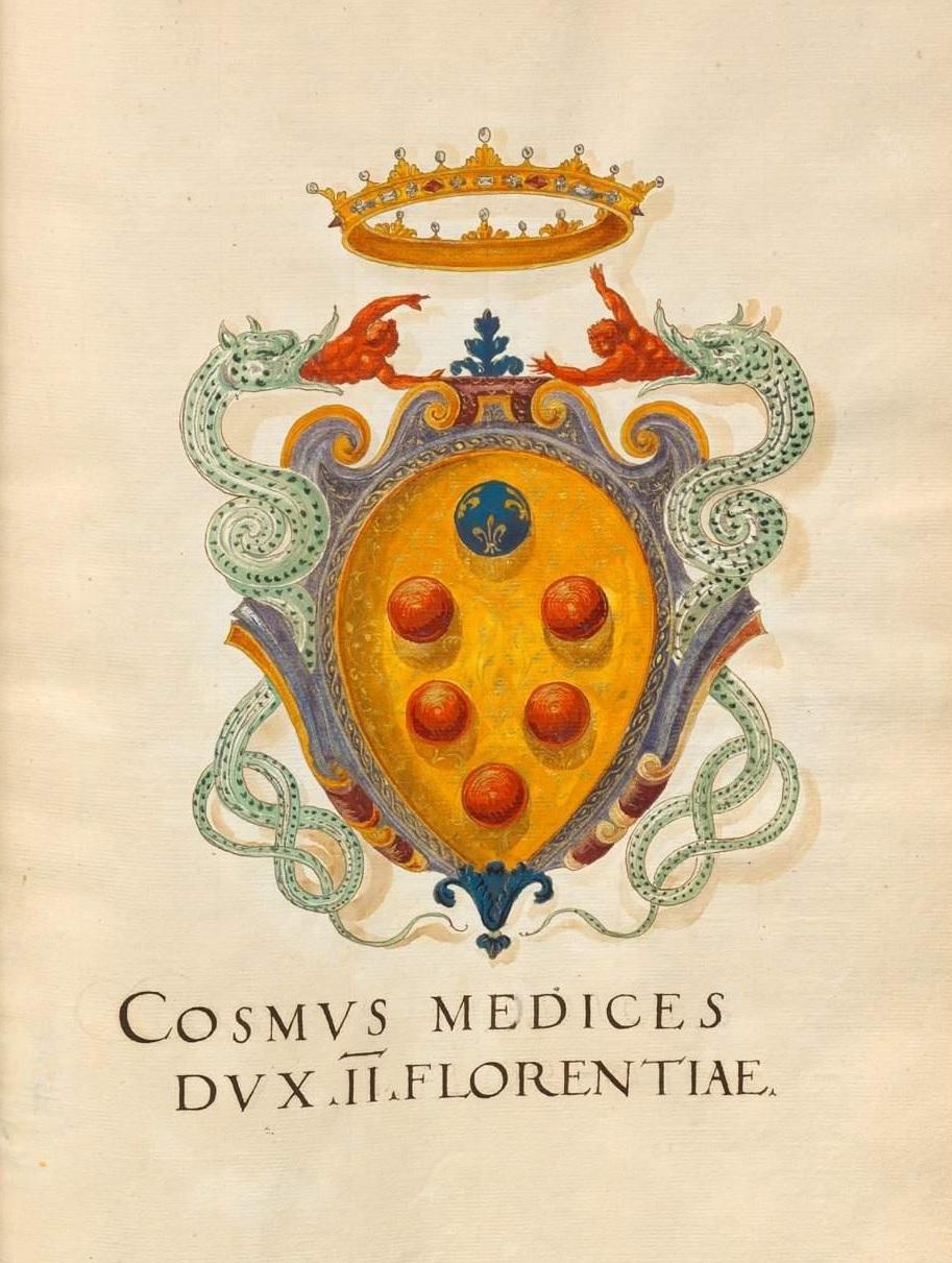 """Arma, cioè stemma, di Cosimo I de' Medici, """"Insigna Florentinorum"""", 1550-1555"""