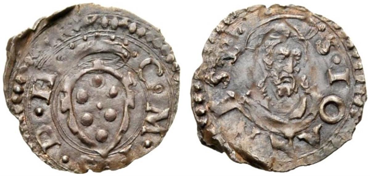 Picciolo rivalutato a mezzo quattrino di Cosimo I de' Medici, 1557-1569, D/ Stemma mediceoR/ Busto di san Giovanni Battista