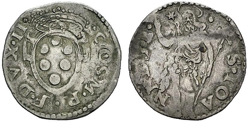 Crazia di Cosimo I de' Medici, 1537-1557, D/  Stemma mediceo R/ San Giovanni Battista in piedi