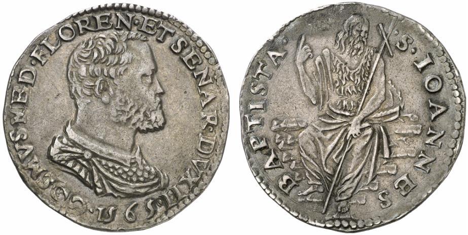 Testone d'argento datato di Cosimo I, 1565, D/ Busto di Cosimo I R/ san Giovanni Battista seduto