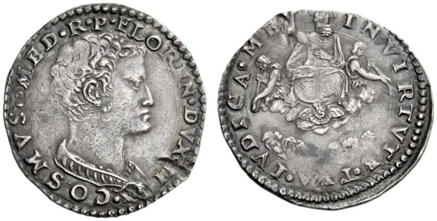 Lira d'argento di Cosimo I,  1537-1557, D/ Busto di Cosimo I a destra R/ il Giudizio Universale