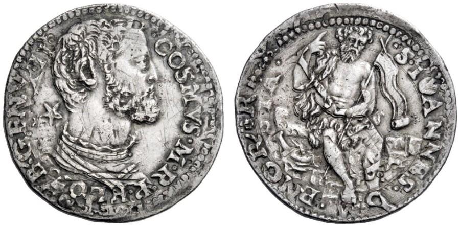 Stellino d'argento di Cosimo I, 1554-1557,D/ Busto di Cosimo I a destra, con stella dietro al collo R/ san Giovanni Battista seduto