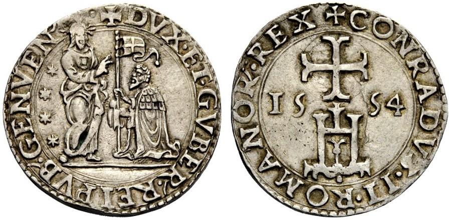 Testone Genovese, 1554, D/ Il Redentore benedice il doge genuflesso e con vessillo R/ legenda intorno al castello sormontato da croce