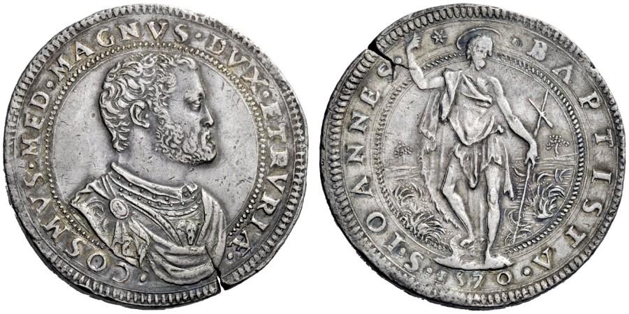 Piastra d'argento di Cosimo I Granduca di Toscana, 1570, D/ Busto di Cosimo I R/ san Giovanni Battista in piedi