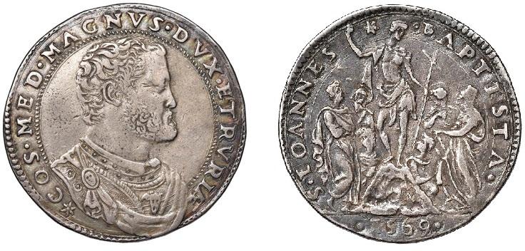 Mezza Piastra d'argento di Cosimo I Granduca di Toscana, 1569, D/ Busto di Cosimo I R/ san Giovanni Battista predicante