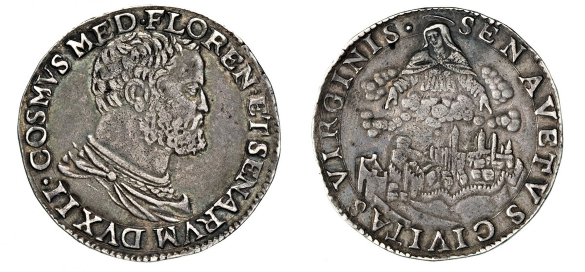 Testone d'argento di Cosimo I, 1557-1569, D/ Busto di Cosimo I R/ la Vergine sovrastante la città di Siena