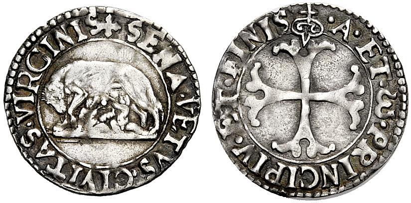 Grosso di Siena del tipo introdotto nel 1526, D/ Lupa senese che allatta i gemelli R/ croce fogliata