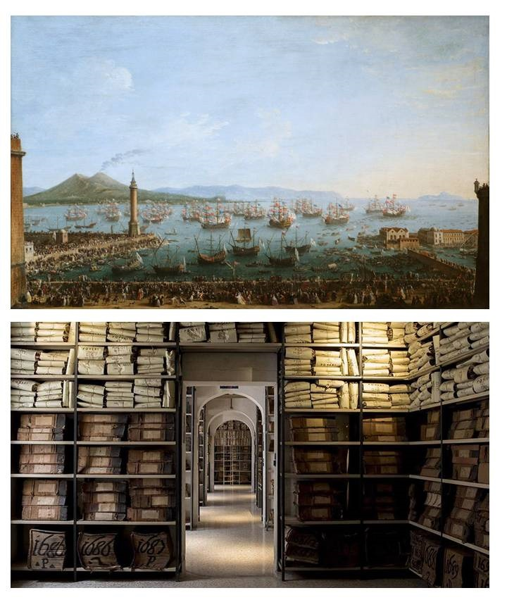 Un dipinto raffigurante il porto di Napoli nel XVIII secolo e uno scorcio degli archivi storici della Fondazione Banco di Napoli