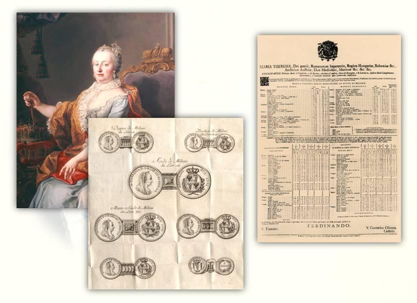 Figg. 1-3: l'imperatrice Maria Teresa, i disegni delle nuove monete milanesi e la nuova tariffa delle monete per lo Stato di Milano del 25 ottobre 1778