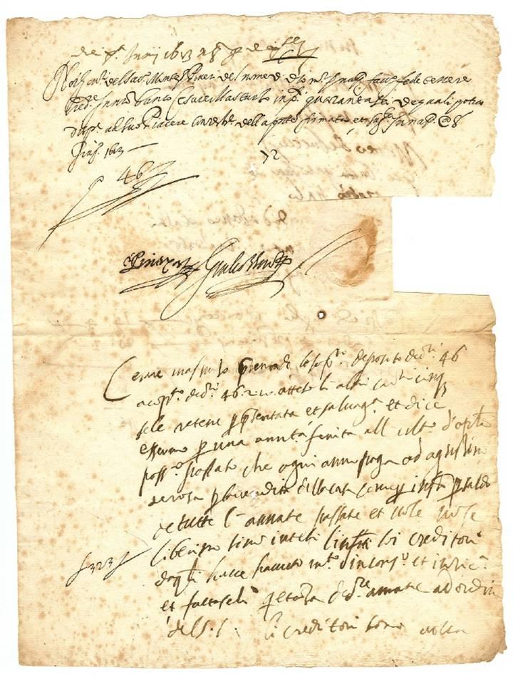 Ecco la più antica fede di credito del Banco di Napoli, ovviamente manoscritta, conosciuta fino ad oggi (risale al 1613)