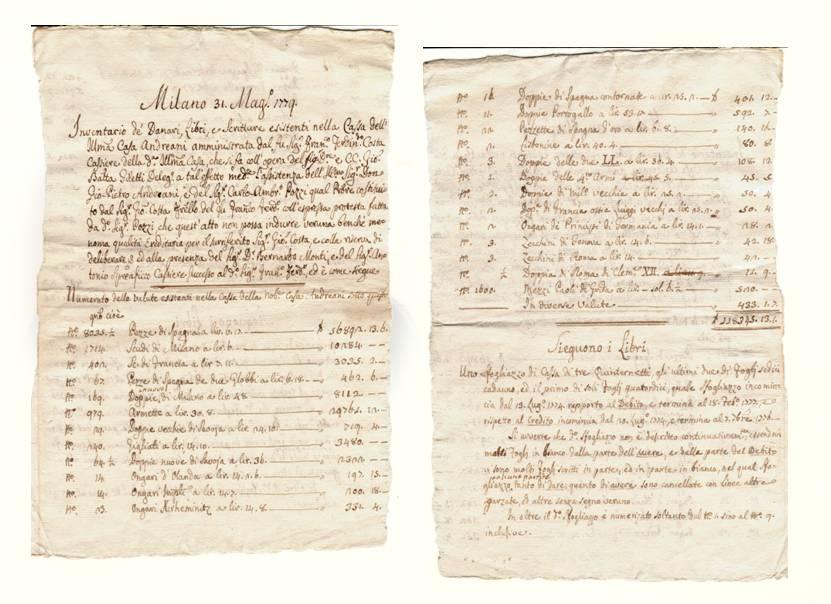 """Figg. 4a e 4b: l'inventario delle valute esistenti nella cassa della nobile casa Andreani """"sotto questo giorno (31 maggio 1779)"""""""