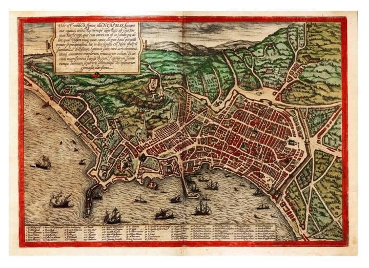 Mappa della città di Napoli risalente alla fine del XVI secdolo
