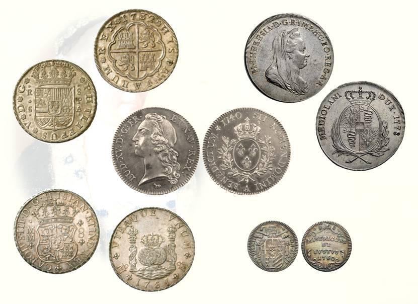 Fig. 5-9: pezza di Spagna (mm 40); scudo di Milano a lire 6 (mm 40); scudo di Francia a lire 7.11 (mm 39); pezza di Spagna da due globi a lire 6.18 (mm 39); mezzo paolo di grida a lire – soldi 6 ½ (mm 20)