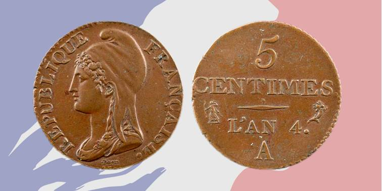 Risale al periodo del Direttorio la prima apparizione in moneta del profilo di Marianne