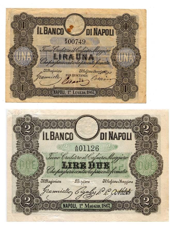 Fedi di credito di piccolo taglio del Banco di Napoli: da 1 lira emessa nel 1867 e da 2 lire emessa nel 1867