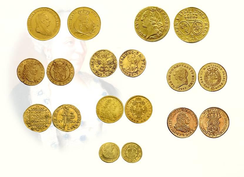 Figg. 10-18: doppia nuova di Milano a lire 48 (mm 28); armetta a lire 30.8 (mm 29); doppia di Savoja a lire 24.16 (mm 23); gigliato a lire 14.10 (mm 22); doppia nuova di Savoja a lire 36 (mm 23); ongaro d'Olanda a lire 14.2.6 (mm 22); onagro imperiale a lire 14.7 (mm 22); doppia di Spagna contornata a lire 25.2 (mm 22); pezzetta di Spagna d'oro a lire 6.8 (mm 18)