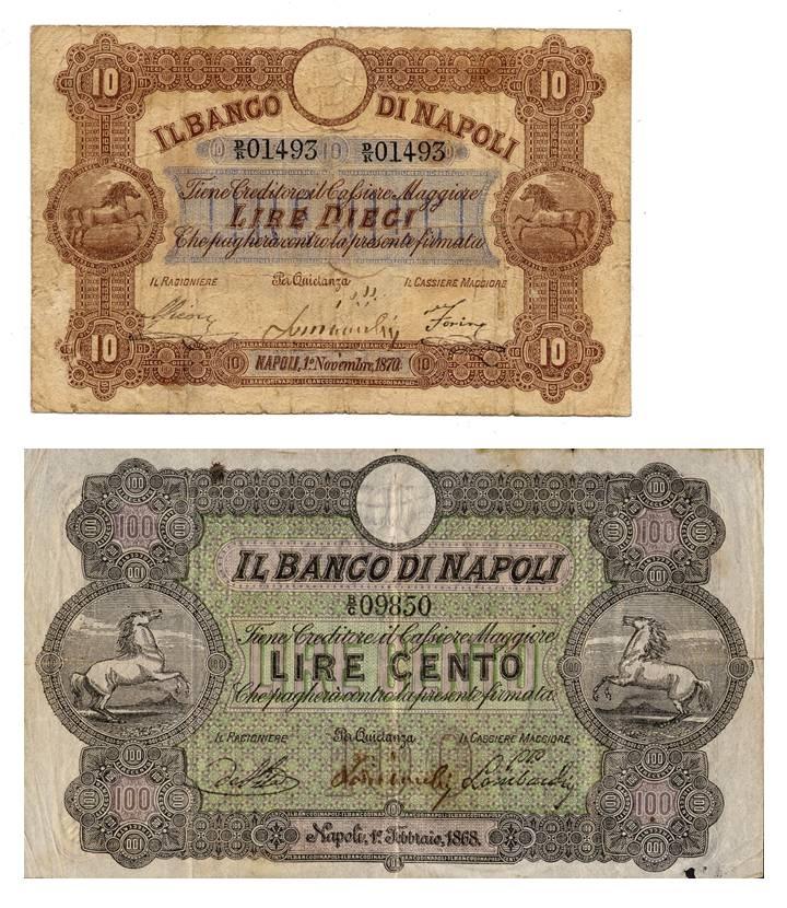 """Fede di credito da 10 lire emessa nel 1870 e alto valore da 200 lire emesso nel 1877 con i due """"cavallini"""" al galoppo"""