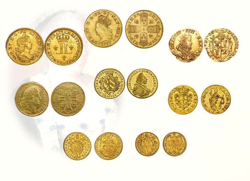 Figg. 19-26: doppia delle due L a lire 36.4 (mm 28); doppia delle quattro armi a lire 45.5 (mm 28); doppia di Milano vecchia a lire 25.2 (mm 25); doppia di Francia ossia luigi vecchio a lire 25.2 (mm 25); ongaro dei principi di Germania a lire 14.1 (mm 23); zecchino di Genova a lire 14.6 (mm 23); zecchino di Roma a lire 14 (mm 21); mezza doppia di Roma di Clemente XII a lire 11.9 (mm 18)