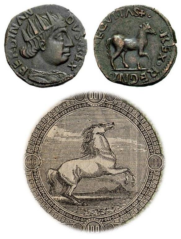 """Un bell'esemplare di cavallo napoletano di Ferdinando I d'Aragona (rame, mm 17,5 per g 2,2 ca) e il tondo della fede di credito da 100 lire con il """"cavallino"""""""