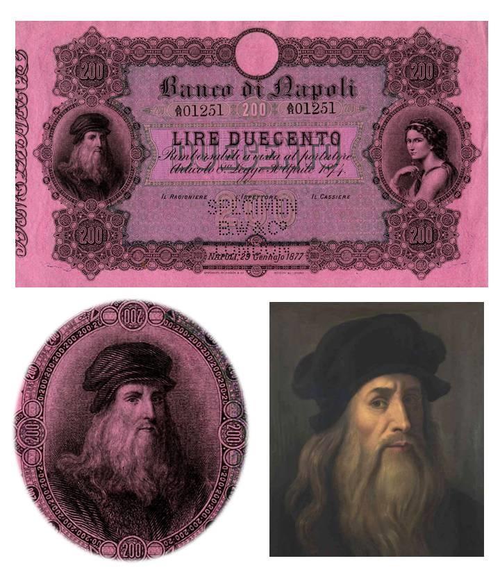 """Fede di credito da 1000 lire emessa nel 1877 e ritratto di Leonardo da Vinci noto come """"Tavola Lucana"""", dettaglio rielaborato nel tondo di sinistra del fronte"""