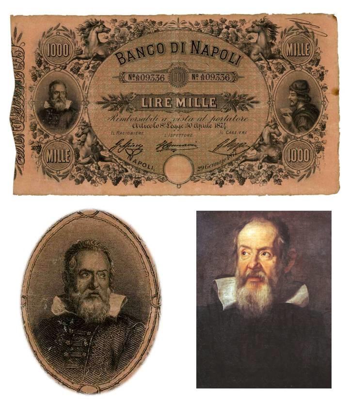 Fede di credito da 1000 lire emessa nel 1870, ovale con ritratto di Galileo Galieli e dettaglio di uno dei celebri dipinti che raffigurano lo scienziato